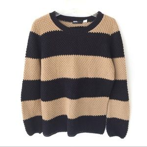 BDG Textured Striped Scoopneck Sweater Black Tan S